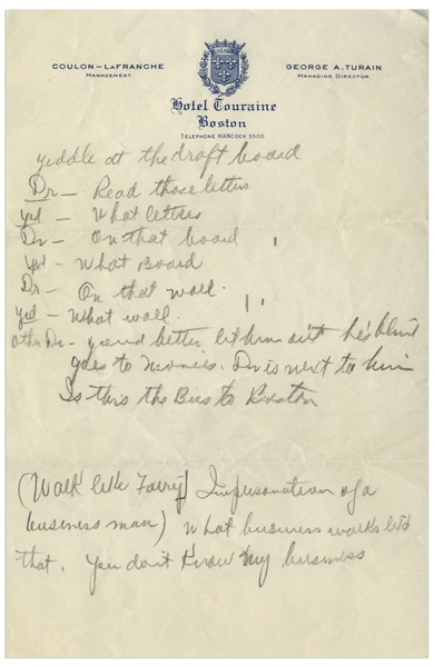 Moe Howard's Handwritten Jokes, With Skit in Doctor's Office -- Single Page on Boston's Hotel Touraine Stationery Measures 6'' x 9.25'' -- Very Good Condition